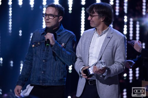 Patrick Downie and Mike Downie accept the Artist of The Year award on behalf of their brother, the late Gord Downie